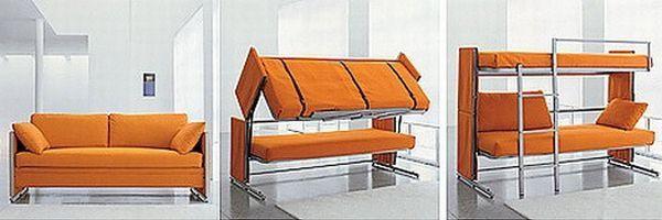 Sofá que se transforma em uma cama beliche