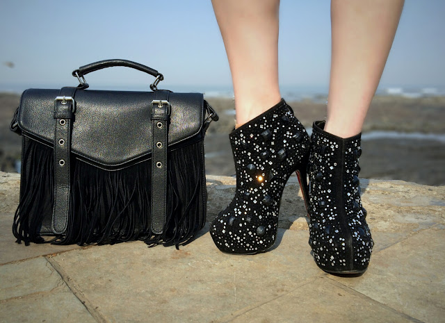 ONLY Fringe Bag, Embellished Black Ankle Boots