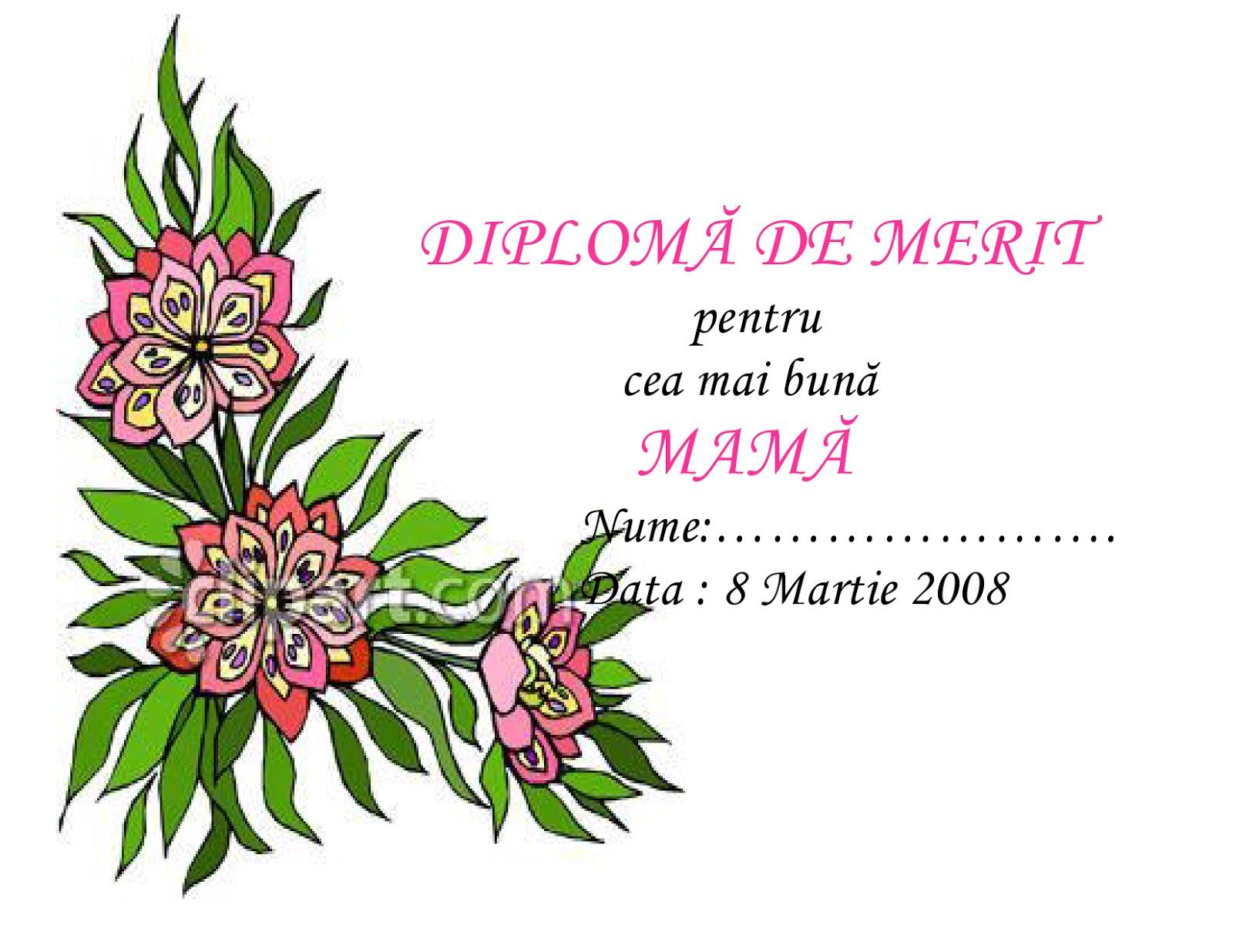 Diploma De Merit Pentru Cea Mai Buna Mama Diploma Diploma Diploma