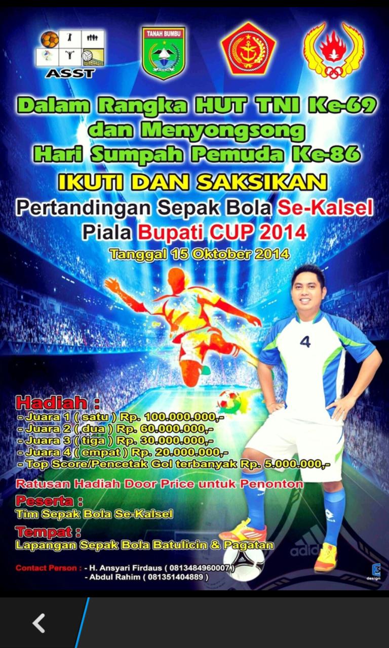 Pertandingan Sepak Bola Bupati CUP 2014