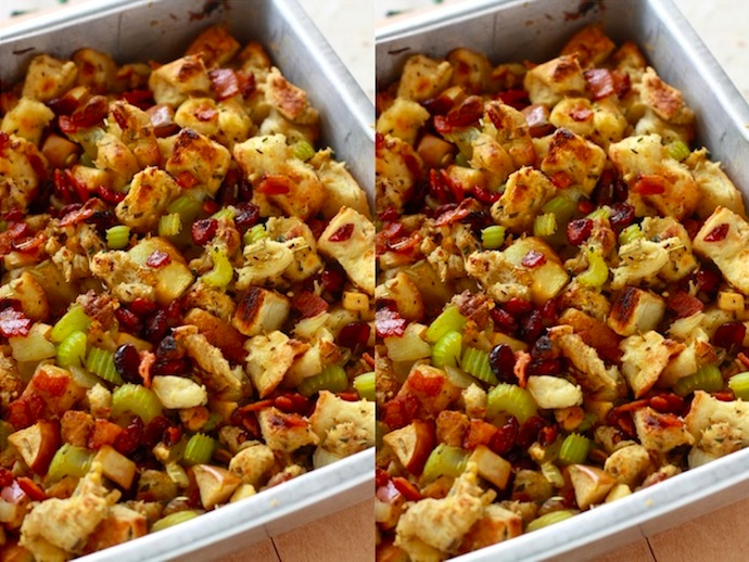 Baked cranberry stuffing with bacon
