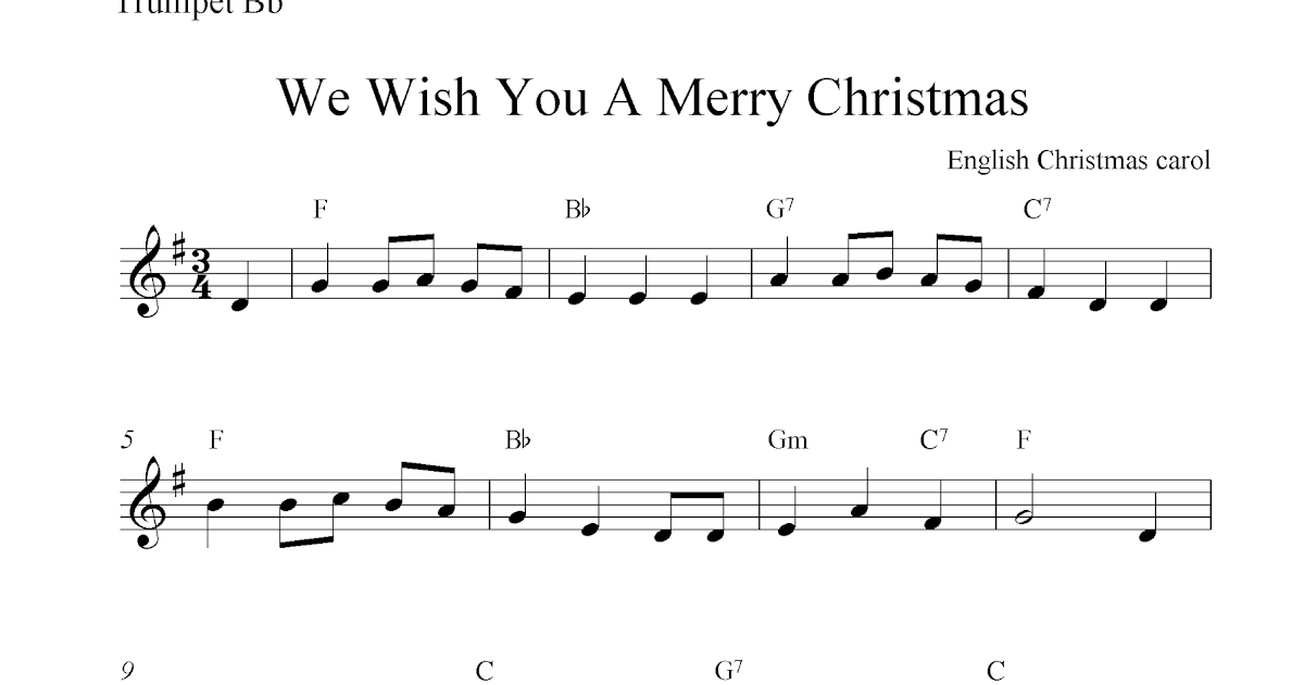 We Wish You A Merry Christmas, free Christmas trumpet sheet music ...