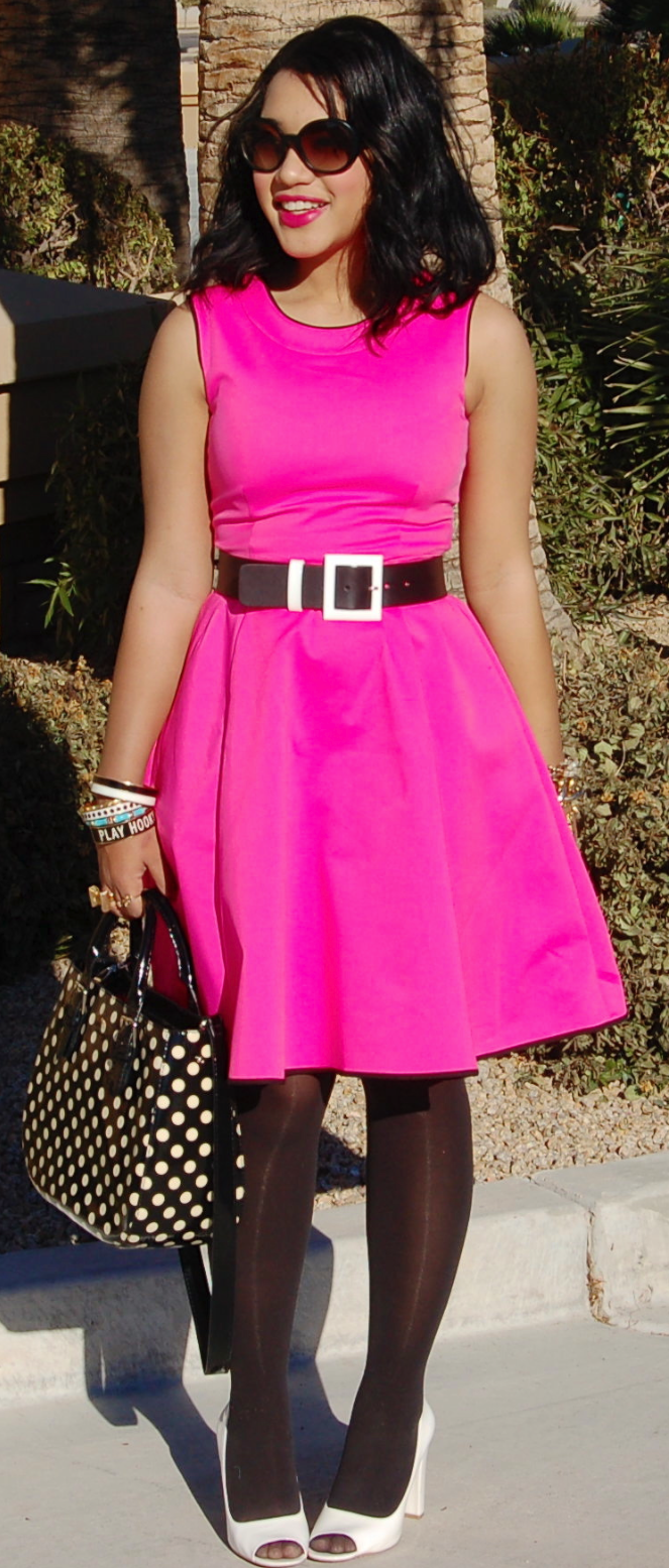 Pink Dress With Black Heels