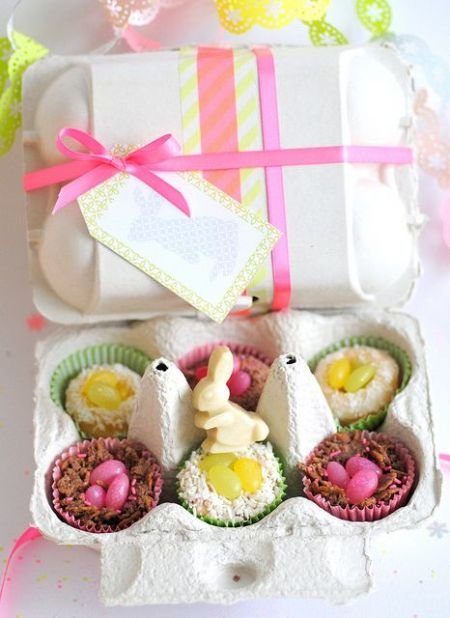 colorful and pretty Easter treats wrapping from egg box