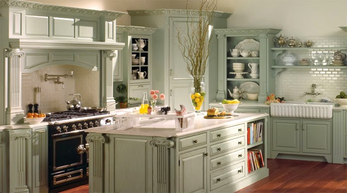Create french style kitchen or french country kitchen designs - Country style kitchen cabinets design ...