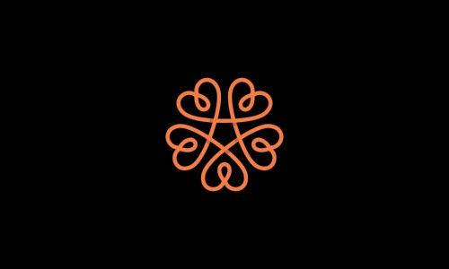 Overlapping technique Logo Five heart