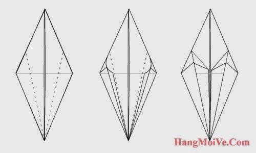 Bước 8: Từ hình 1 ta gấp 2 cạnh 2 bên theo hướng từ ngoài vào trong (hình 2) ta sẽ được như hình 3.