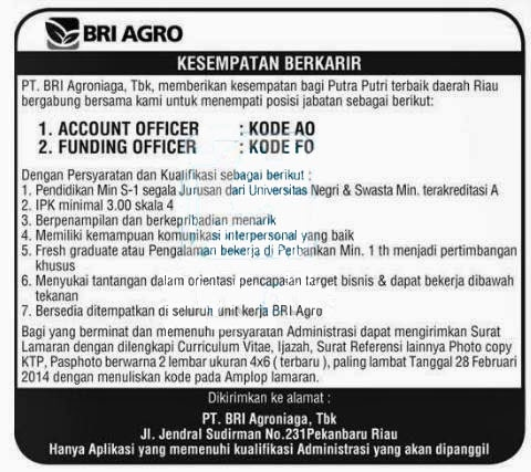 Bank BRI Agro - Recruitment All Majors