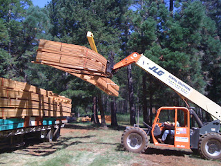 Unloading the roof trusses as part of the framing package
