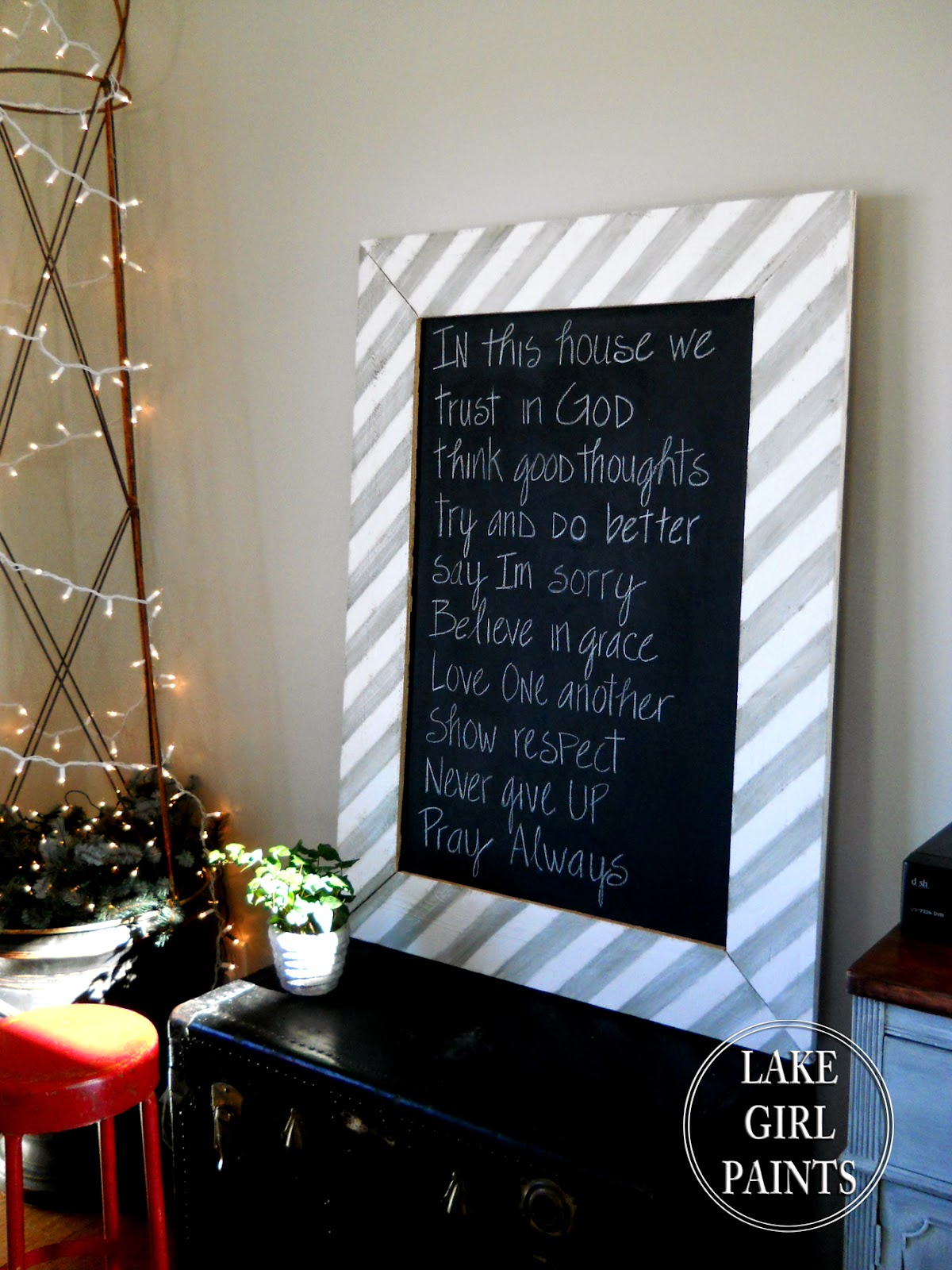 Lake Girl Paints: Large Chalkboard with Striped Frame - DIY