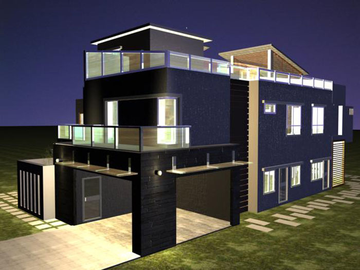 Design modern house plans 3d for Modern house 49