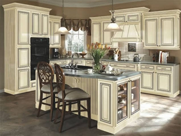 Home interior gallery antique white kitchen cabinet for Antique painting kitchen cabinets ideas