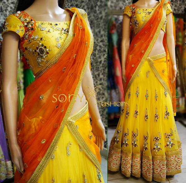 Beads And Stones Half Saree Saree Blouse Patterns