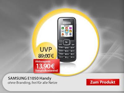 Einfaches günstiges Handy Samsung E1050 bei MeinPaket für 13,90 Euro inklusive Versandkosten