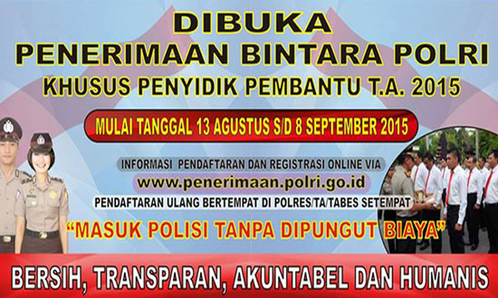 Gambar untuk Lowongan Kerja Penyidik Pembantu Polri Agustus 2015