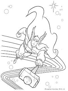 Gambar Mewarnai Thor Berjalan Di Jembatan Luar Angkasa
