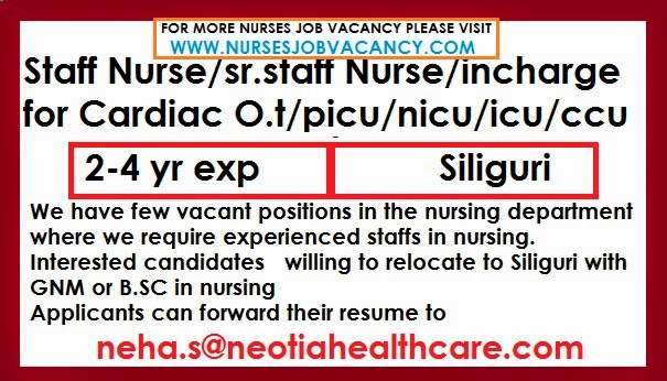 nurses job vacancy  nurses job vacancy for siliguri
