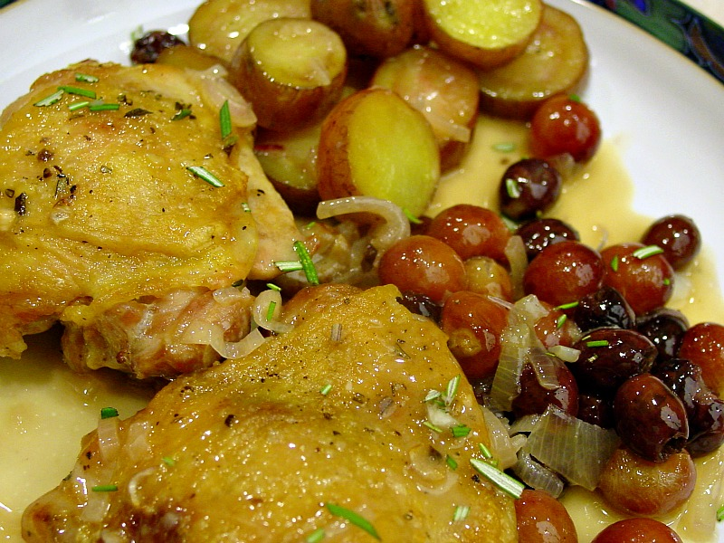 Harvest Roast Chicken With Grapes, Olives, And Rosemary Recipes ...