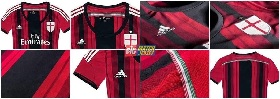 Detail Jersey Grade Ori Ladies Ac Milan Home Terbaru Official Musim 2014 - 2015