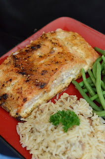California King salmon, rice, green beans