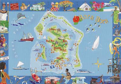 (Tahiti) – Bora Bora Island map