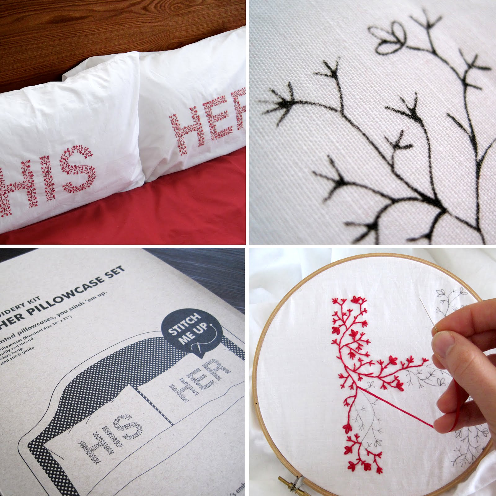 CuriousDoodles: Product Release: His & Her Pillowcase Embroidery Kit