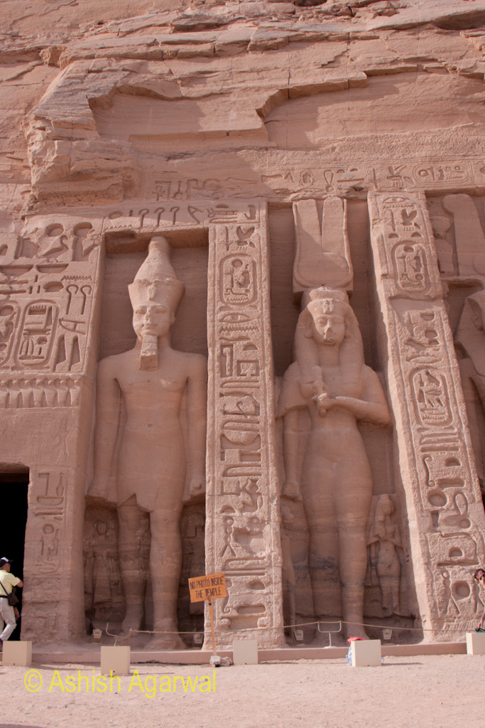 Statue of the pharaoh and the queen consort at the small temple in Abu Simbel