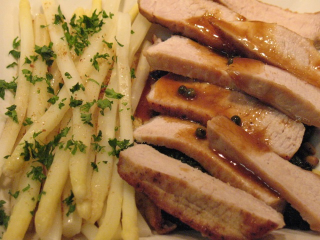 Cook In / Dine Out: Pork Chops with Maple-Peppercorn Sauce