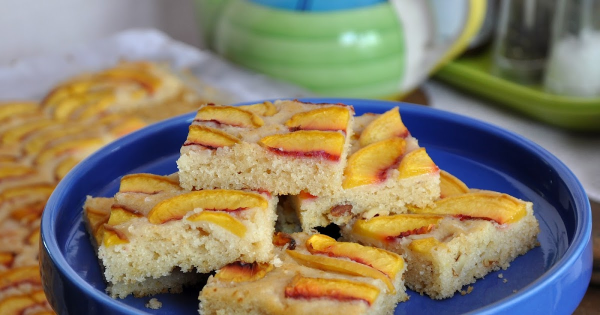 Whole wheat, Olive oil, eggless cake with Peaches or Nectarines..