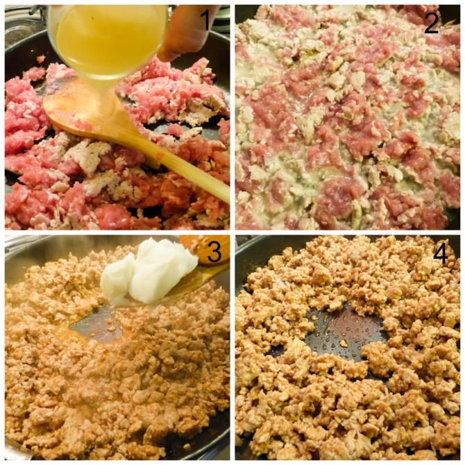 preparamos el relleno de carne para los chiles en nogada