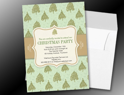 Christmas Tree Sage Green Holiday Party invitations