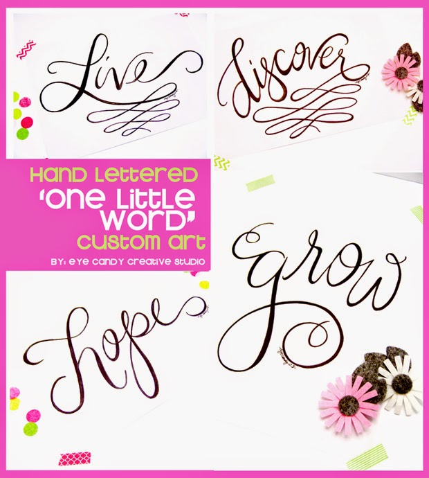 hand lettered one little word custom art, #OLW, live, discover, hope, grow