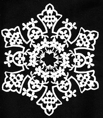Maiolica, garland, Sarah Myers, S. Myers, arte, cut paper, flowers, floral, medallion, majolica, antique, Mexican, art, design, repeat, snowflake