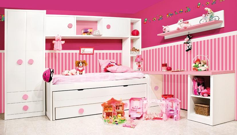 Dormitorios juveniles con estanteria puente Habitaciones juveniles rosa