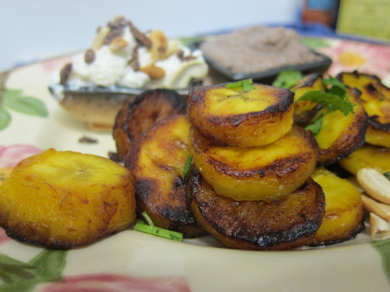 Banana Wonder Fried Plantains With Feta Sour Cream And Black Bean Hummus