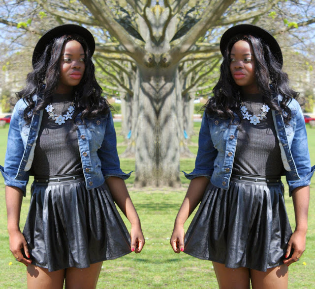 BLACK EBAY LEATHER SKIRT AND PRIMARK DENIM JACKET