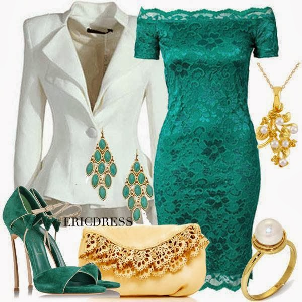 Stylish white blazer, blue dress, sandals and handbag combination for weddings