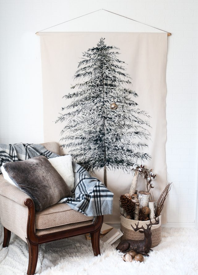 Diy festive christmas tree wall hanging do it yourself ideas and to an actual tree for small spaces made from a simple drop cloth this wall hanging will bring joy and good cheer to your home year after year solutioingenieria Image collections