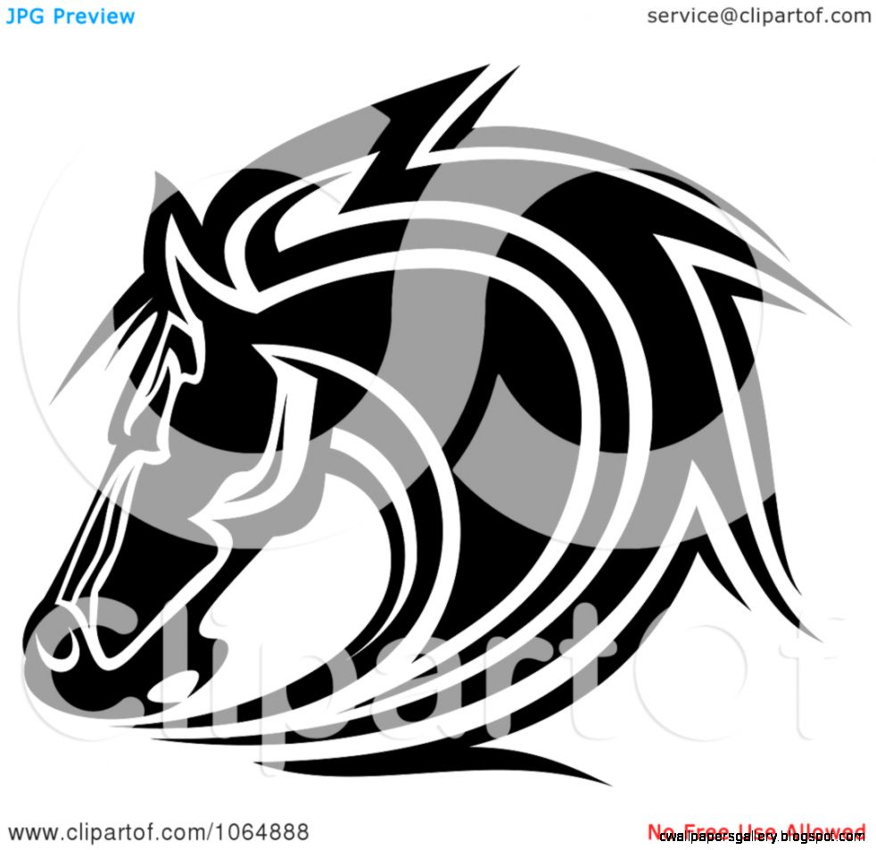 Clipart Horse Head Logo In Black And White 8   Royalty Free Vector