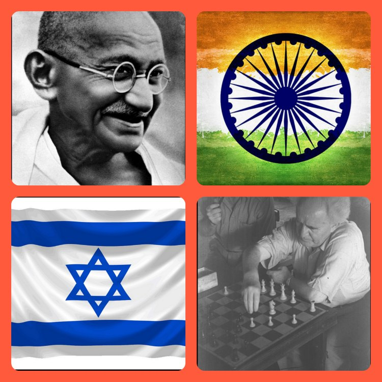 Israeli prime minister and founder, David Ben Gurion, plays chess, the game India invented, as Ghandi observes amid flags of both countries