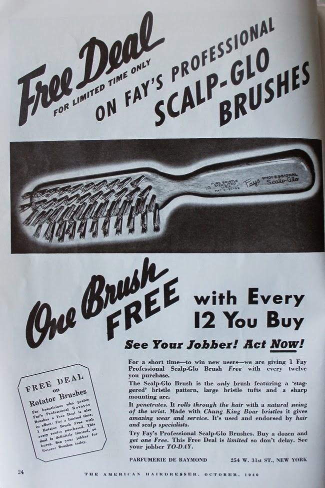 1940 american hair dresser magazine vintage hair brush ad