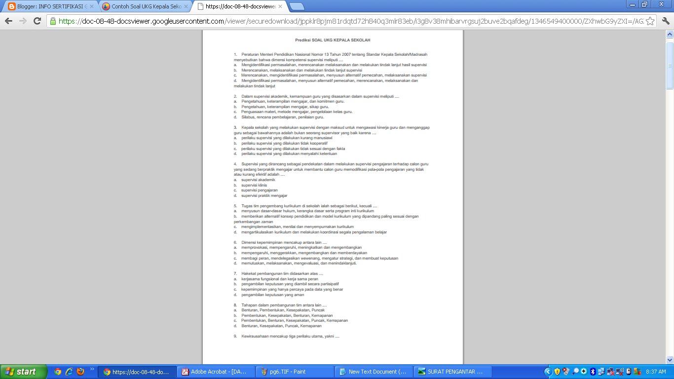 Berikut lampiran contoh soal-soal uji kopetensi untuk kepalas sekolah