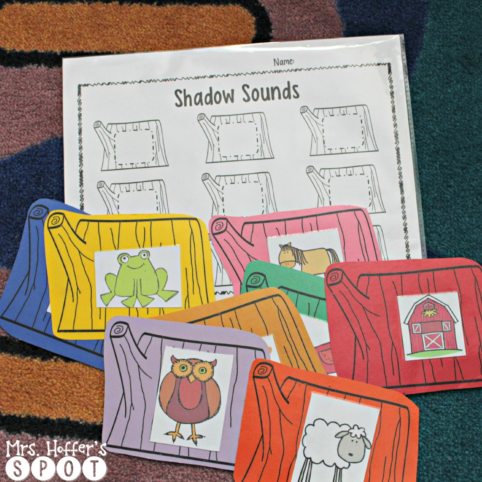 "This center is called ""Shadow Sounds"" the students segment the word, and write the ending sound in the box."