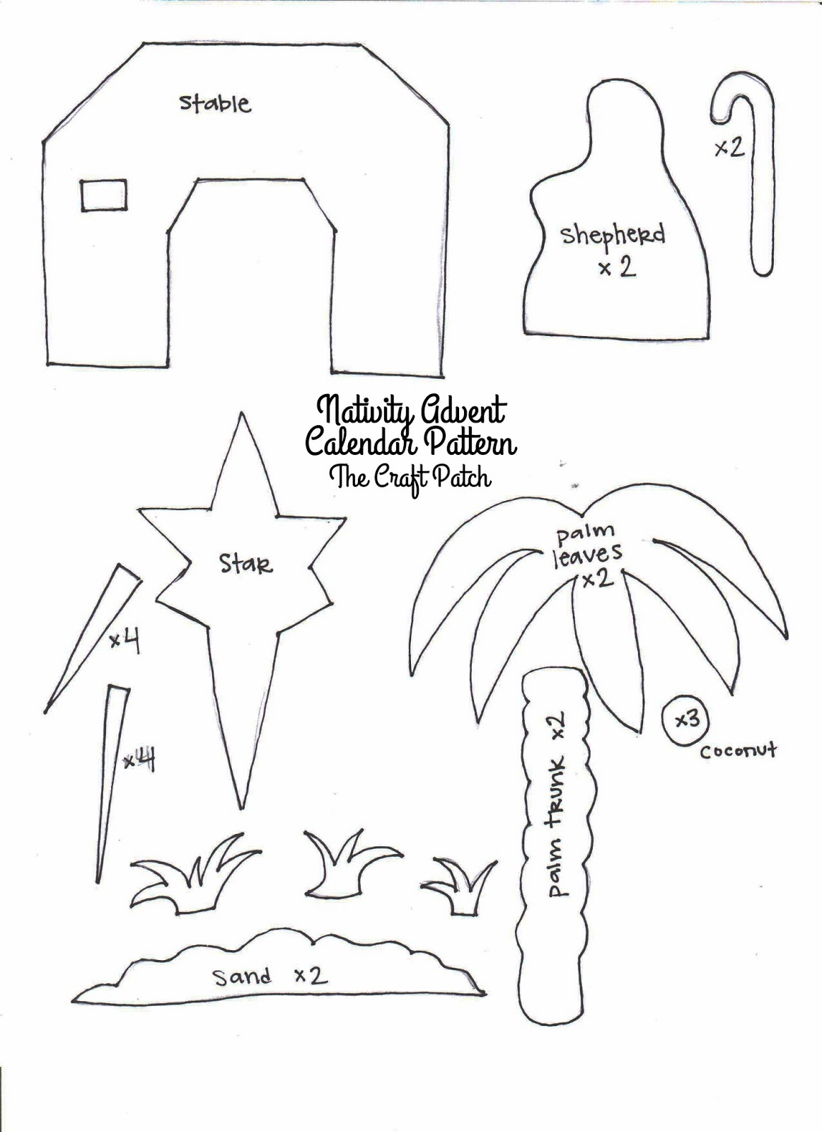 printable nativity template here are the pattern pieces