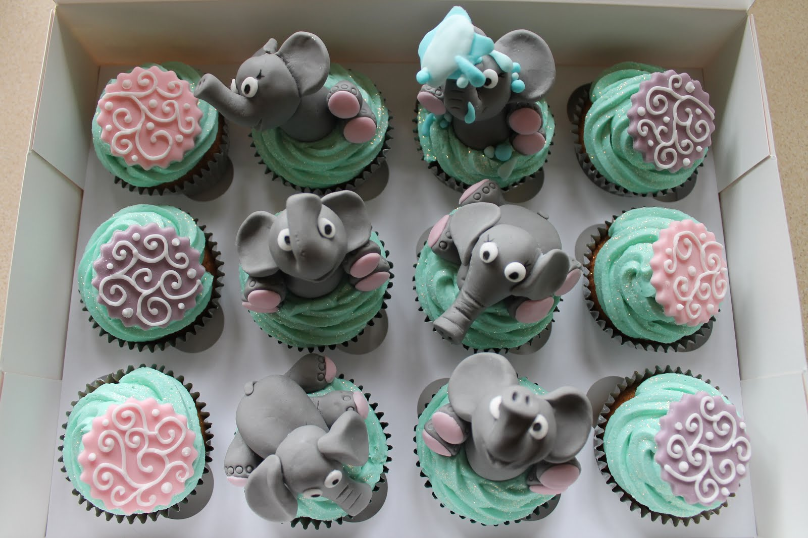 Elephant Baby Shower Cupcake Cake