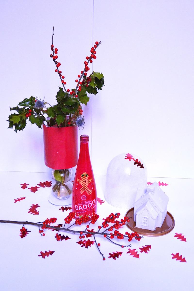 Bouquet de Noël avec du Houx et branche de sapin,bouteile badoit Noël,Maison de noel glacé sous cloche Picard et sapin rouge  Hema