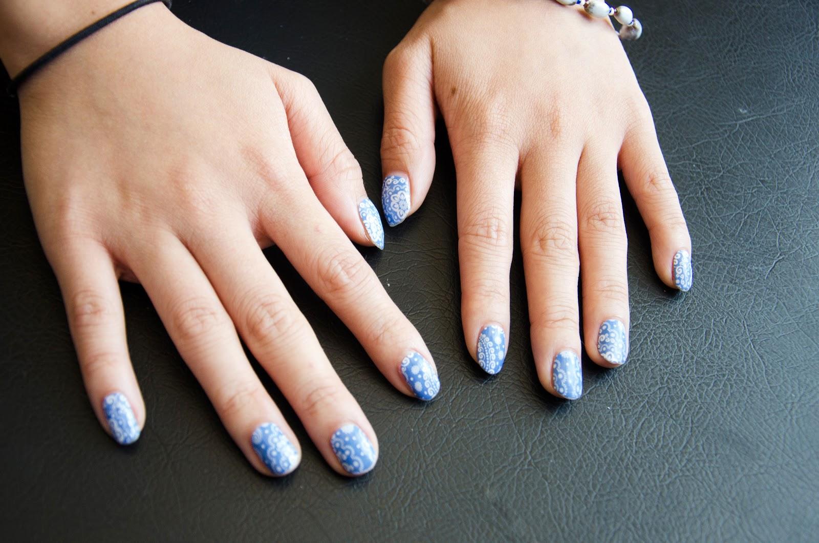 fun size beauty: Born Pretty Store Sticker Exquisite Light Blue Lacy ...