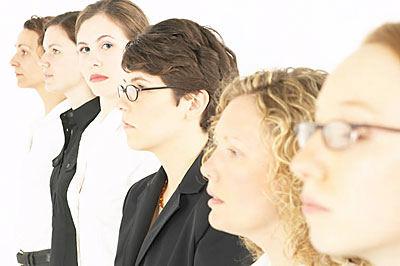 line up of women