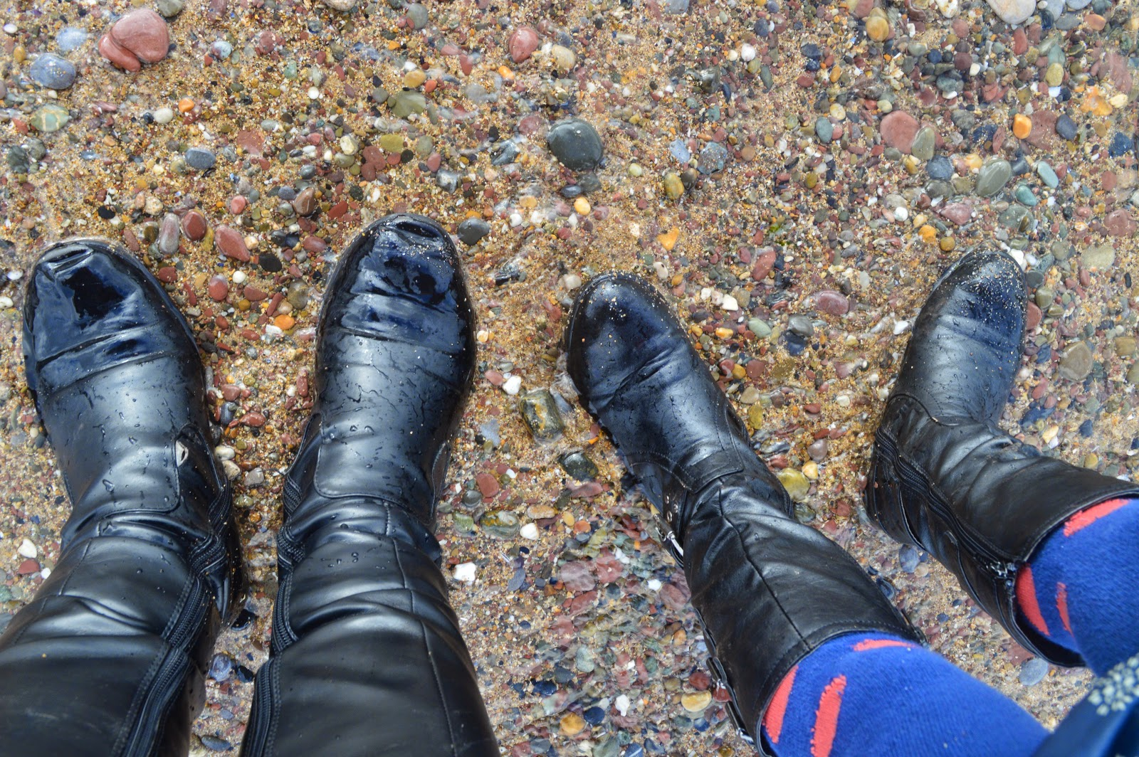 Black Boots on  Manorbier Beach
