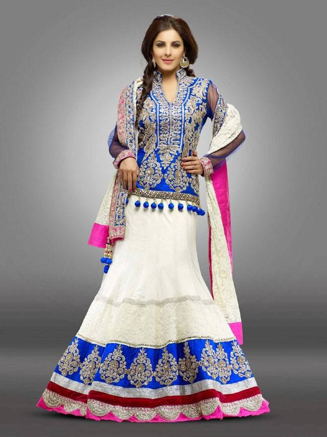 Isha Talwar In White and Blue Lehenga
